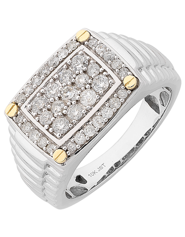 Men's Ring - White Gold Diamond Ring - 762447