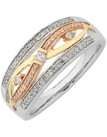 Diamond Ring - Three Tone Gold Diamond Dress Ring - 762449