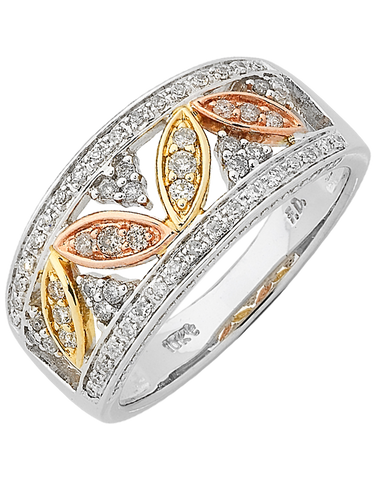 Diamond Ring - Three Tone Gold Diamond Dress Ring - 762450