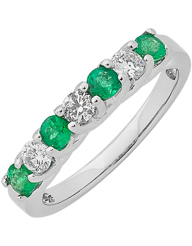 Emerald Ring - White Gold Emerald & Diamond Ring - 762451