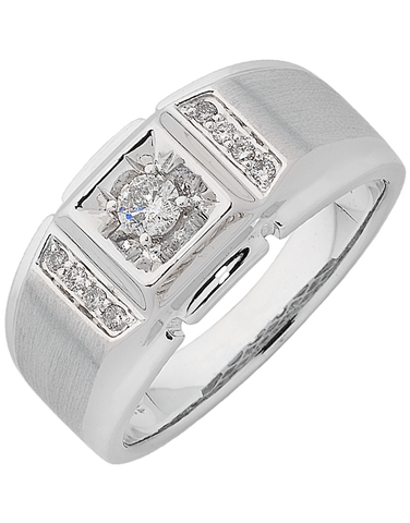Men's Ring - White Gold Diamond Ring - 762472