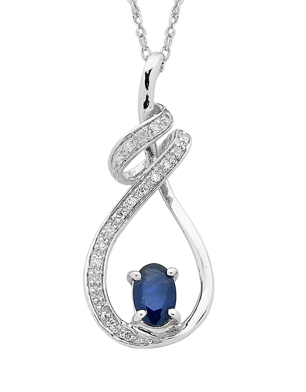 Sapphire Pendant - White Gold Sapphire & Diamond Pendant - 762489 - Salera's Melbourne, Victoria and Brisbane, Queensland Australia
