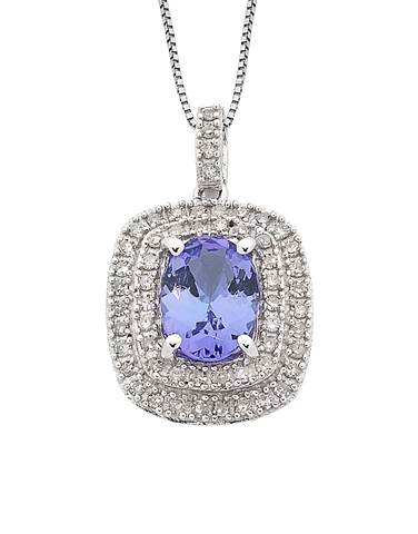 Tanzanite Pendant - White Gold Tanzanite & Diamond Pendant - 762495