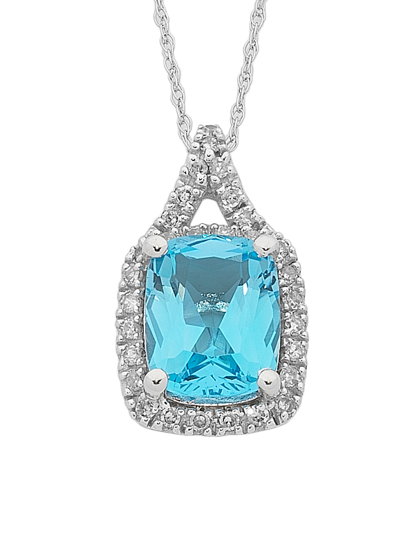 Blue Topaz Pendant - White Gold Blue Topaz & Diamond Pendant - 762496 - Salera's Melbourne, Victoria and Brisbane, Queensland Australia