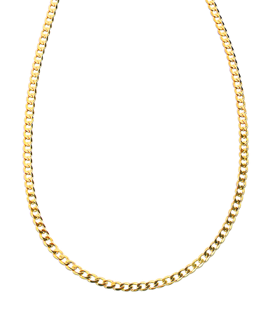 Gold Necklace - 50cm Yellow Flat Curb Chain - 762651