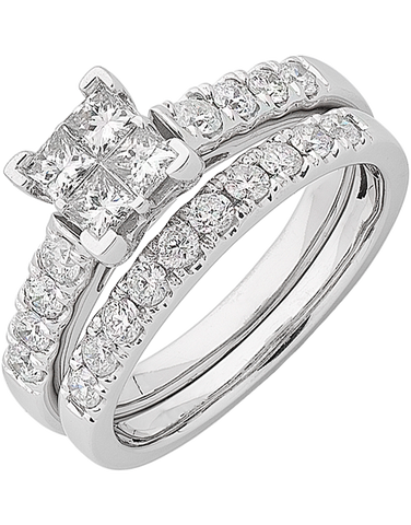 Bridal Set - White Gold Diamond Bridal Set Rings - 762742
