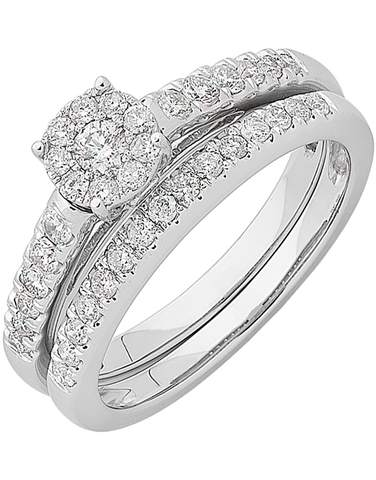 Bridal Set - White Gold Diamond Bridal Set Rings - 762755