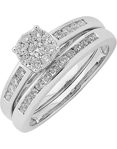 Bridal Set - White Gold Diamond Bridal Set Rings - 762756