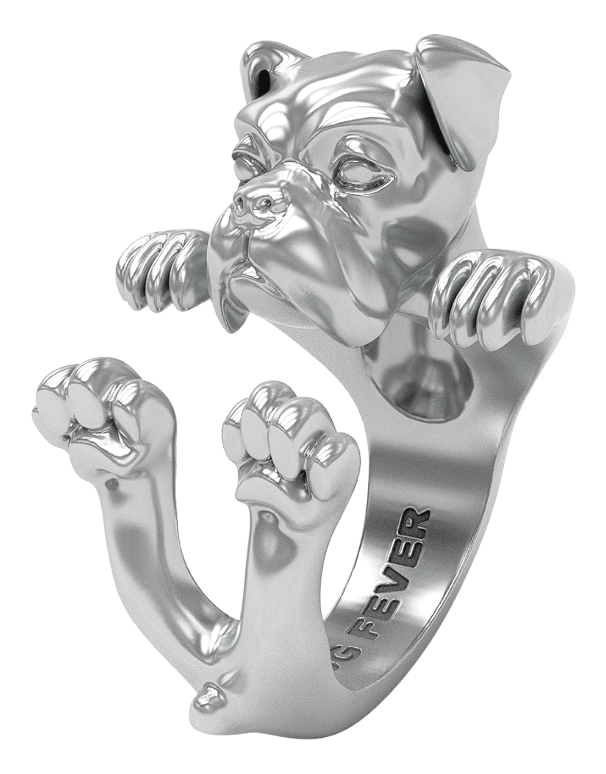 Dog Fever - Boxer Silver Hug Ring - 762903 - Salera's Melbourne, Victoria and Brisbane, Queensland Australia