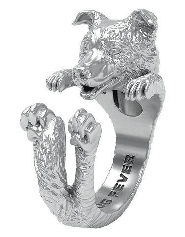 Dog Fever - Border Collie Silver Hug Ring - 762909