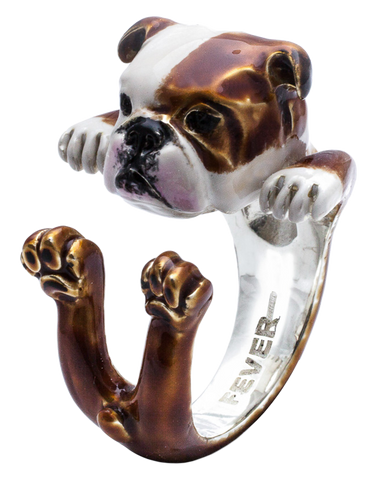 Dog Fever - English Bulldog Enamelled Hug Ring - 762913