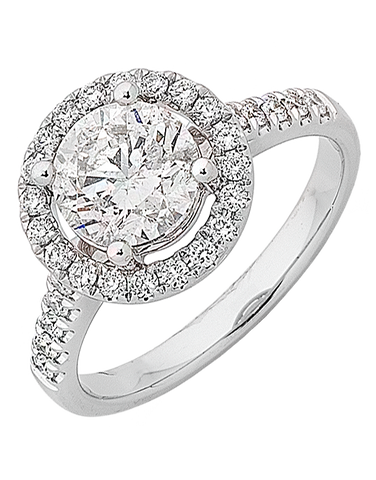 Diamond Ring - Round Brilliant Cut Halo Engagement Ring - 763303
