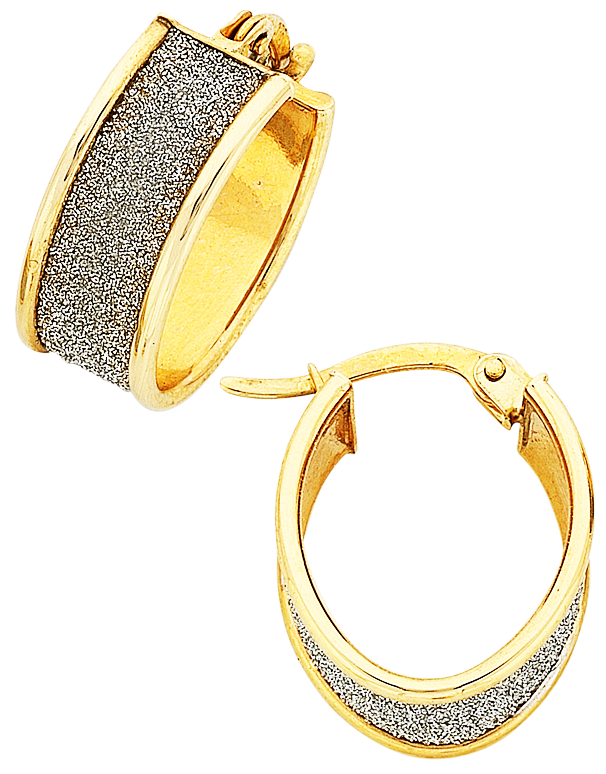 Gold Earrings - Two Tone Gold Hoop Earrings - 763443 - Salera's