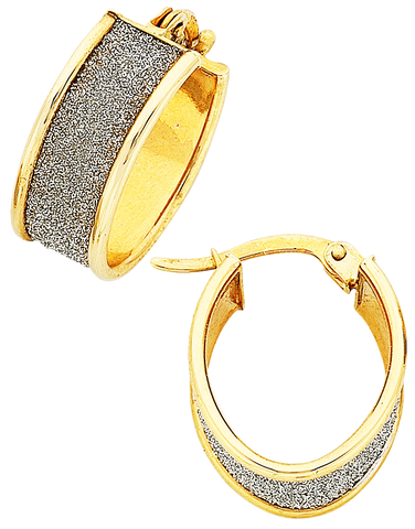 Gold Earrings - Two Tone Gold Hoop Earrings - 763443