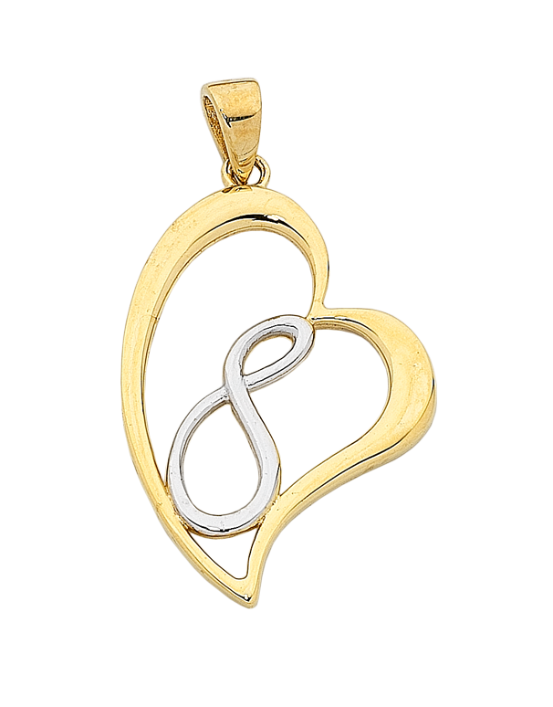 Gold Pendant - Two Tone Gold Pendant - 763450