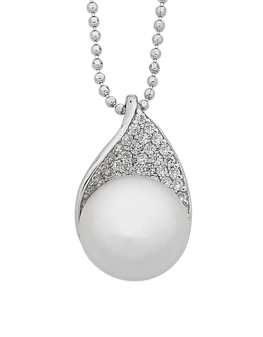 Pearl Pendant - Sterling Silver Freshwater Pearl & CZ Pendant On 45mm Chain - 763595