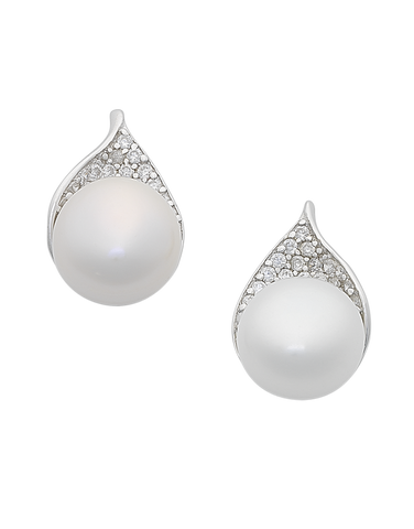 Pearl Earrings - Sterling Silver Freshwater Pearl & CZ Stud Earrings - 763596
