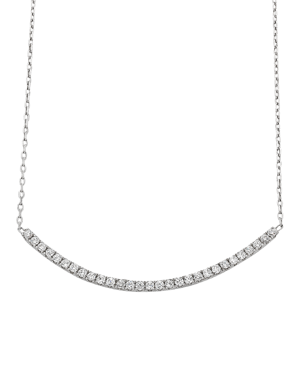 Silver Necklace - Sterling Silver CZ Bar Necklet - 763612 - Salera's