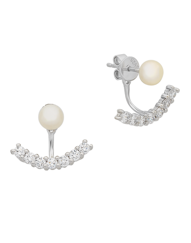 Pearl Earrings - Sterling Silver Pearl & CZ Earrings - 763615