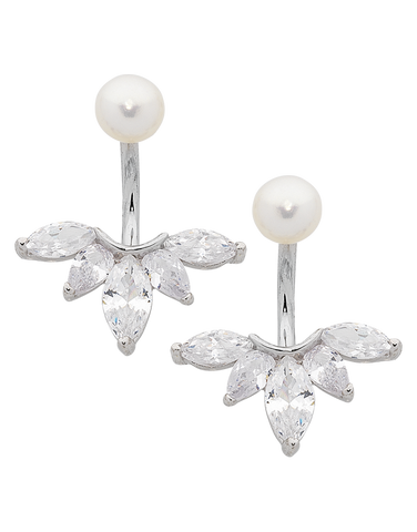 Pearl Earrings - Sterling Silver Pearl & CZ Earrings - 763618
