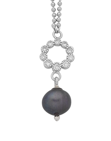 Pearl Necklace - Sterling Silver Pearl & CZ Necklet - 763621