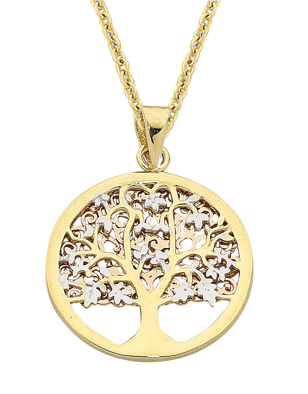 Gold Pendant - Two Tone Tree of Life Pendant - 763630 - Salera's Melbourne, Victoria and Brisbane, Queensland Australia