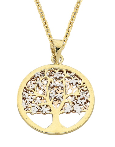 Gold Pendant - Two Tone Tree of Life Pendant - 763630