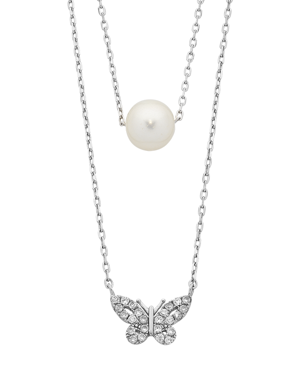 Pearl Necklace - Sterling Silver Pearl & CZ Necklet - 763646 - Salera's