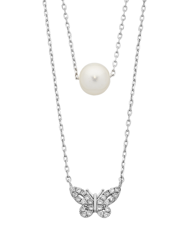 Pearl Necklace - Sterling Silver Pearl & CZ Necklet - 763646