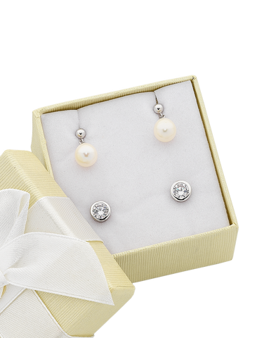 Pearl Earrings - Sterling Silver Pearl & CZ Earring Gift Set - 763648