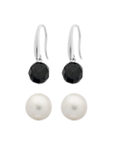 Pearl Earrings - Sterling Silver Freshwater Pearl & Onyx Earring Gift Set - 763649 - Salera's