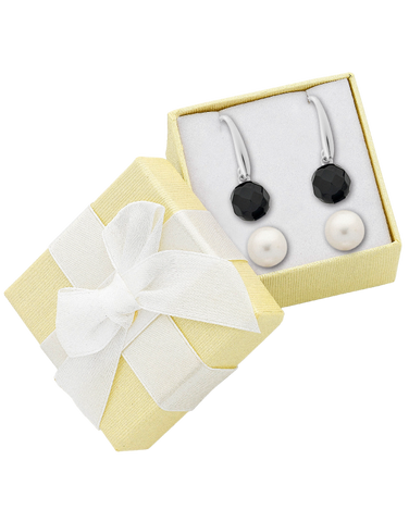 Pearl Earrings - Sterling Silver Freshwater Pearl & Onyx Earring Gift Set - 763649