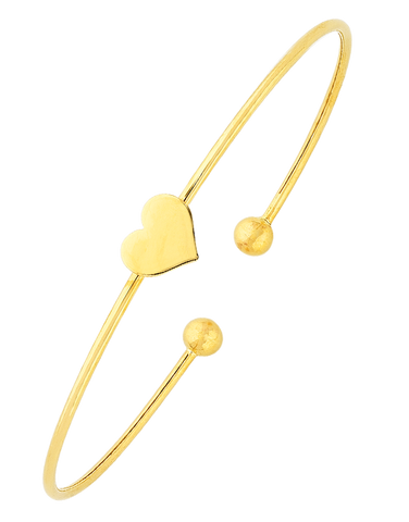 Gold Bangle - 9ct Yellow Gold Heart Bangle - 763658