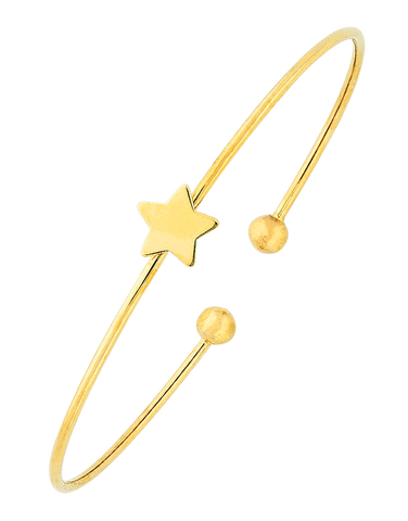 Gold Bangle - 9ct Yellow Gold Star Bangle - 763659