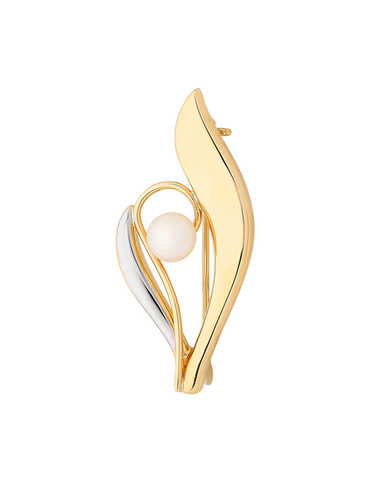 Gold Brooch - 9ct Yellow Gold Freshwater Pearl Brooch - 763670