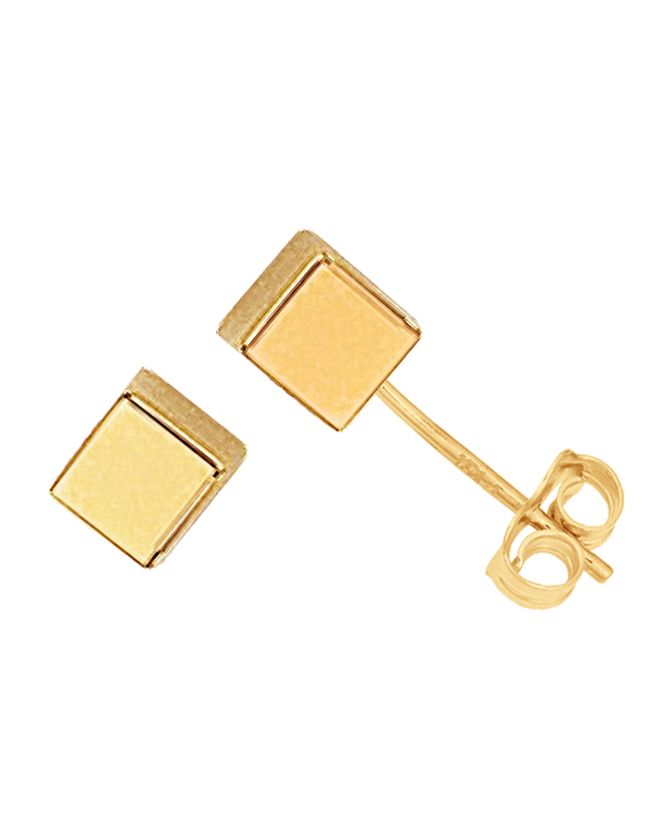 Gold Earrings - 9ct Yellow Gold Cube Stud Earrings - 763680 - Salera's Melbourne, Victoria and Brisbane, Queensland Australia