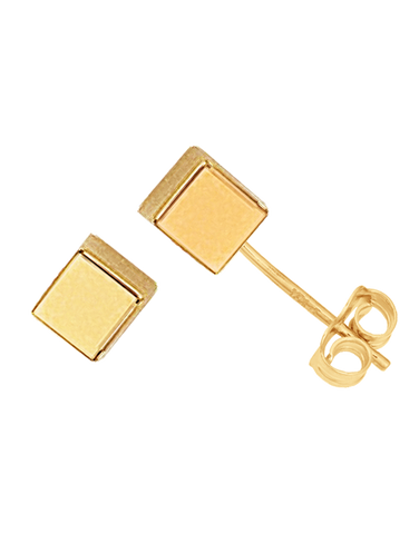 Gold Earrings - 9ct Yellow Gold Cube Stud Earrings - 763680