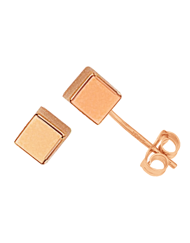 Gold Earrings - 9ct Rose Gold Cube Stud Earrings - 763681 - Salera's Melbourne, Victoria and Brisbane, Queensland Australia