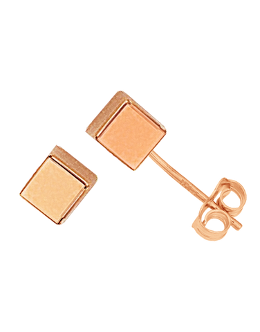 Gold Earrings - 9ct Rose Gold Cube Stud Earrings - 763681