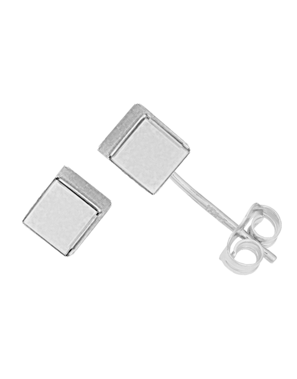 Gold Earrings - 9ct White Gold Cube Stud Earrings - 763683 - Salera's Melbourne, Victoria and Brisbane, Queensland Australia