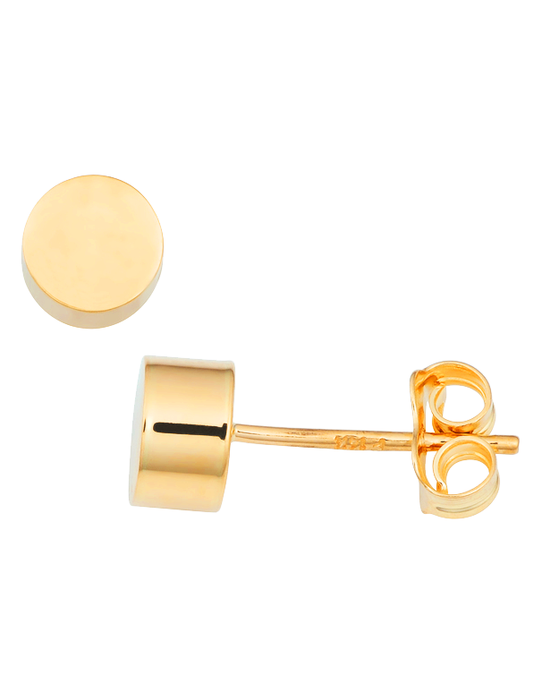 Gold Earrings - 9ct Yellow Gold Cylinder Stud Earrings - 763687 - Salera's Melbourne, Victoria and Brisbane, Queensland Australia