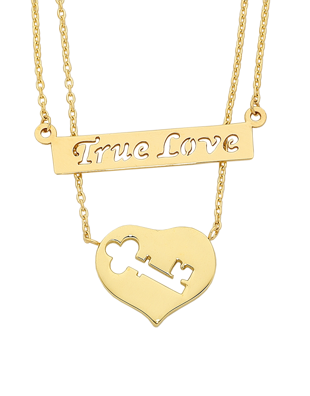 GOLD NECKLACE - YELLOW GOLD TRUE LOVE NECKLET