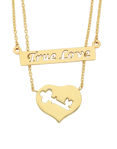 "Gold Necklace - Yellow Gold ""True Love"" Necklet - 763700"
