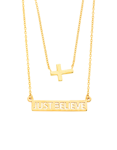 "Gold Necklace - Yellow Gold ""Just Believe"" Necklet - 763701"
