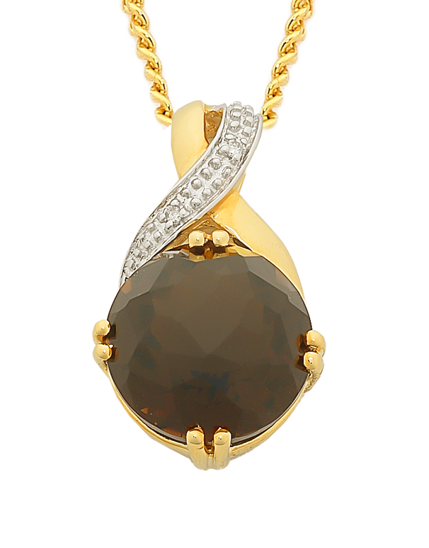 Smokey Quartz Pendant - Yellow Gold Smokey Quartz and Diamond Pendant - 763711 - Salera's