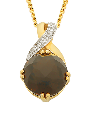 Smokey Quartz Pendant - Yellow Gold Smokey Quartz and Diamond Pendant - 763711