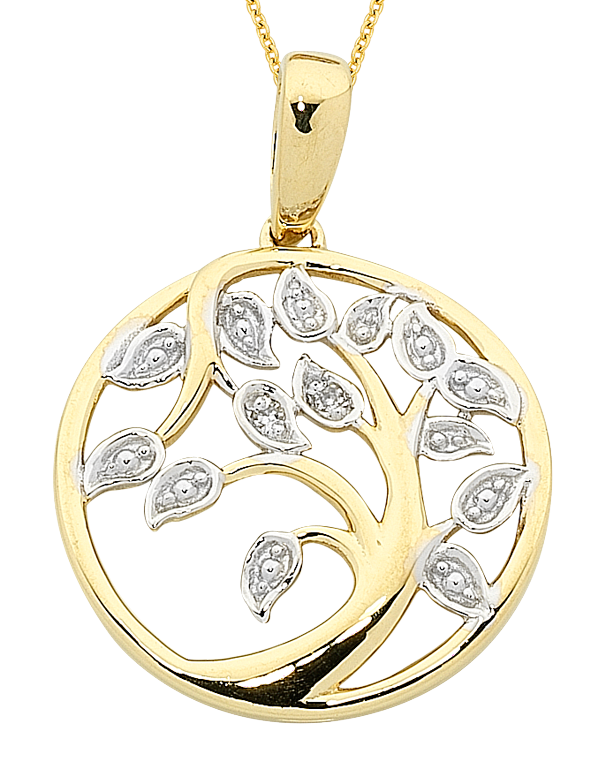 Gold Pendant - Two Tone Tree of Life Pendant - 763715 - Salera's Melbourne, Victoria and Brisbane, Queensland Australia