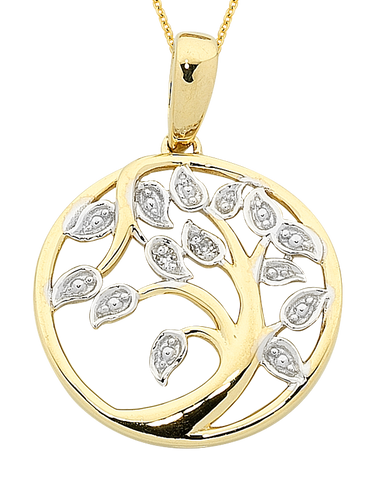 Gold Pendant - Two Tone Diamond Set Tree of Life Pendant - 763715