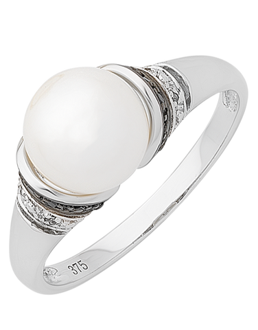 Pearl Ring - 9ct White Gold Pearl & Diamond Ring - 763716