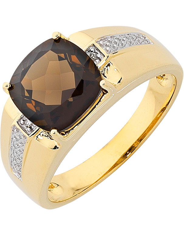 Men's Ring - Yellow Gold Smokey Quartz & Diamond Set Ring - 763720 - Salera's